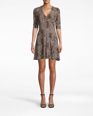 Nicole Miller Pebble Crepe V-neck Mini Faux Wrap Dress