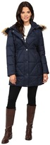 Jessica Simpson Cinched Waist Puffer w/ Hood and Removable Faux Fur Women's Coat