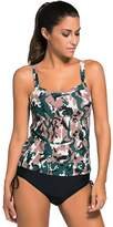 Dilameng Women 2pcs Camouflage Tankini Sets Cross Strap Pad Top Lace-up Bottom Swimsuits (M, )