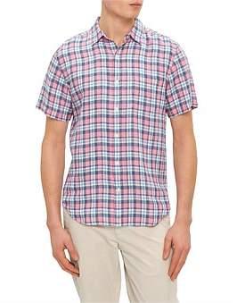 David Jones Short Sleeve Linen Plaid Shirt