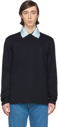Lanvin Navy Grosgrain Collar Long Sleeve Polo