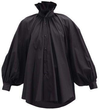 Noir Kei Ninomiya Ruffle-collar Balloon-sleeve Cotton Shirt - Black