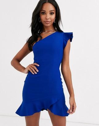 Vesper one shoulder mini dress with flippy hem in cobalt