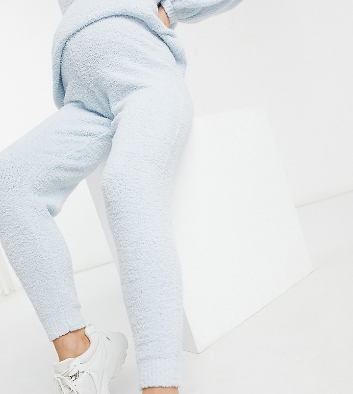 Thumbnail for your product : ASOS DESIGN Maternity co-ord knitted joggers in textured boucle yarn in light blue