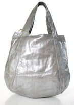 Beirn Silver Metallic Water Snakeskin Large Jenna Hobo Tote Handbag New