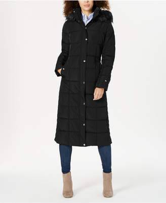 Tommy Hilfiger Hooded Faux-Fur-Trim Maxi Puffer Coat