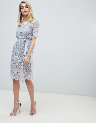 Club L London crochet detail dress with cami slip-Grey