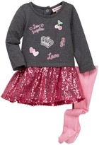 Juicy Couture French Terry Patch Sequin Bottom Dress & Tight Set (Baby Girls)