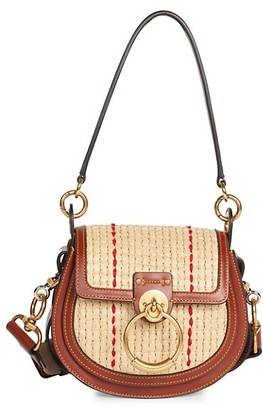 Chloé Small Tess Raffia Leather Saddle Bag