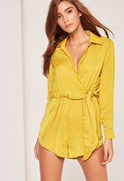 Missguided Silky Wrap Front Playsuit Yellow