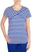 Allison Daley Short Sleeve Striped Crisscross Detail Front Knit Top