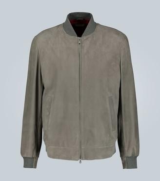 Brunello Cucinelli Embossed suede bomber jacket