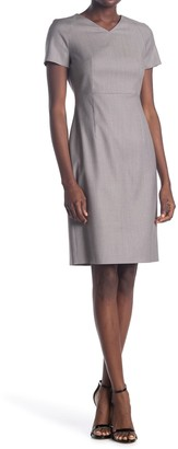 HUGO BOSS Deitua Short Sleeve Wool Sheath Dress