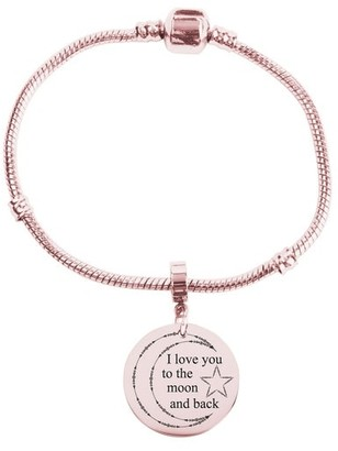 Snake Chain Inspirational Bracelet by Pink Box I LOVE YOU TO THE MOON ROSE GOLD