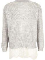 River Island Girls grey pearl embellished lace hem sweater