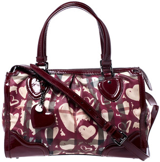 Burberry Red House Check Coated Canvas and Patent Leather Hearts Pilgrim Satchel
