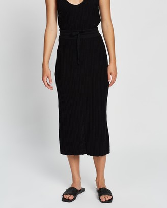 Rue Stiic - Women's Black Midi Skirts - Mara Knit Skirt - Size One Size, M at The Iconic