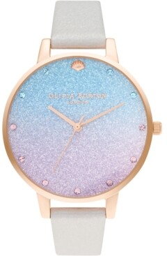 Olivia Burton Women's Under The Sea Pearly White Leather Strap Watch 38mm