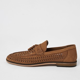 River Island Brown leather woven tassel loafers