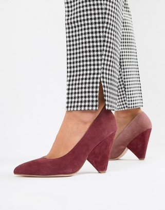 Asos Design DESIGN Potion premium leather high heeled court shoes in pink and burgundy suede-Red