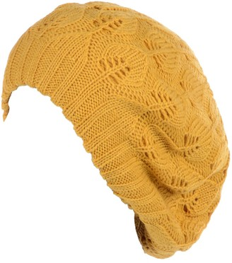 Be Your Own Style BYOS Women Mid-Weight Slouchy Leafy Cutout Crochet Soft Knit French Beret Hat - Yellow - One Size