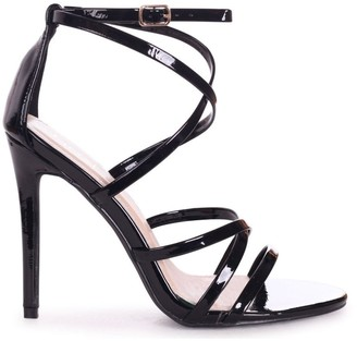 Linzi JENNIFER - Black Patent Strappy Stiletto Heel With Ankle Strap