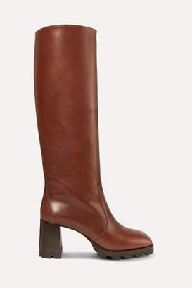Prada 80 Leather Knee Boots - Tan