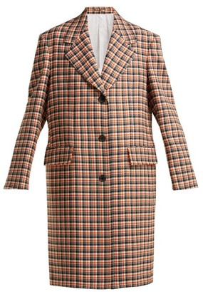Calvin Klein Oversized Checked Wool Coat - Red Multi