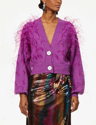 ATTICO Feather-embellished V-neck wool cardigan