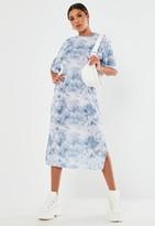 Missguided Petite Blue Tie Dye Midi T Shirt Dress