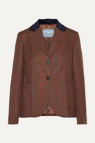 Prada Suede And Corduroy-trimmed Houndstooth Wool And Mohair-blend Blazer