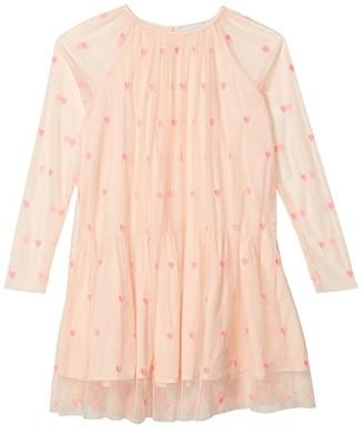 Stella Mccartney Kids Long Sleeve Hearts Tulle Dress (Toddler/Little Kids/Big Kids) (Pink) Girl's Clothing