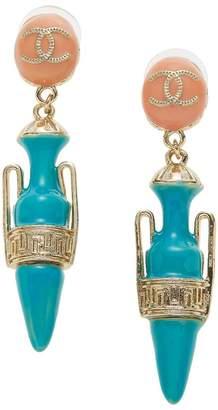 Chanel Coral & Teal Enamel Grecian Urn Earrings