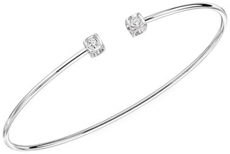 Dinh Van Le Cube 18K White Gold & Diamond Small Open Bangle Bracelet