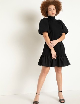 ELOQUII T Neck Easy Dress With Flounce