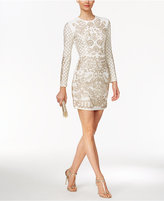 Xscape Evenings Beaded Long-Sleeve Bodycon Dress