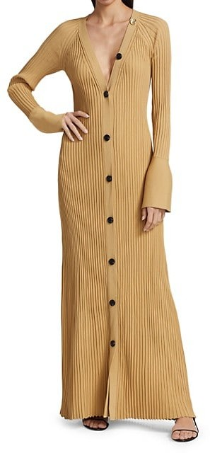 Thumbnail for your product : Proenza Schouler Midweight Ribbed Button Front Knit Maxi Dress
