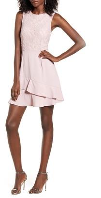 Speechless Lace Bodice Ruffle Crepe Dress