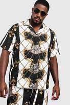 BoohooMAN Big & Tall Baroque Print Revere Collar Shirt