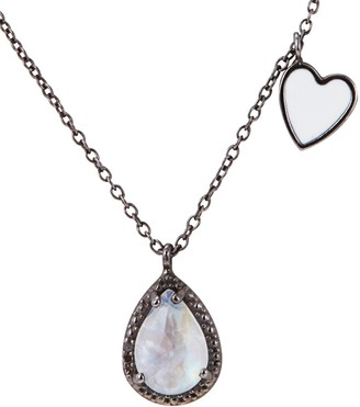 ADORNIA Rhodium Plated 1.03 Ct. Tw. Diamond & Moonstone Heart Dangle Necklace