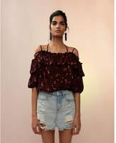 Express floral lace-up sleeve off shoulder top