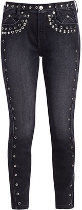 The 7-Pocket High-Rise Stilleto Studded Ankle Jeans
