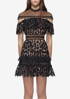 Self-Portrait Self Portrait Yoke Frill Star Mini Dress Black