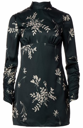 Finders Keepers findersKEEPERS Women's Afterglow Floral Long Sleeve Mockneck Open-Back Mini Dress