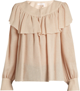 See by Chloe Ruffle-trimmed long-sleeved gauze blouse