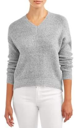 No Boundaries Juniors' Mossy V-Neck Hi-Lo Long Sleeve Pullover Sweater
