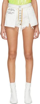 Unravel White Washout Denim Reversed Shorts