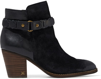 Sam Edelman Minetta Distressed Leather And Suede Ankle Boots