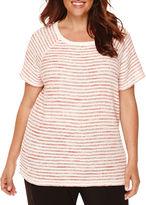 Liz Claiborne Short-Sleeve Stretch Boucle Sweater - Plus