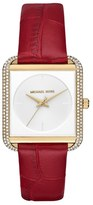 MICHAEL Michael Kors Lake Crystal Leather Strap Watch, 32mm x 39mm